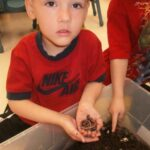 Children holding soil over a bin the classroom