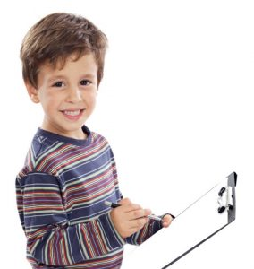 child with clipboard