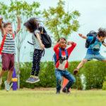 Children jumping outside
