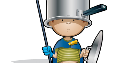Boy dressed in a cape holding a broom with cooking pot on his head and holding the pot's lid in his other hand like a shield
