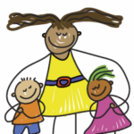 drawing of adult and two children