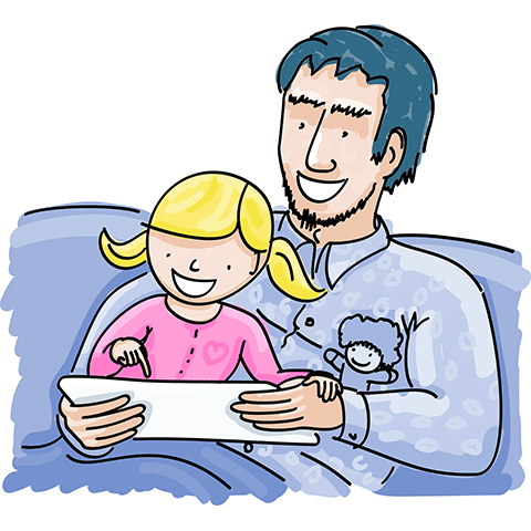 drawing of parent and child reading