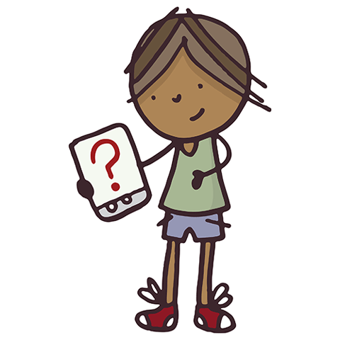 drawing of child with notepad