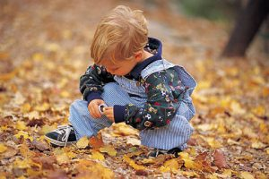child looking at leaves