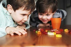 children counting candy