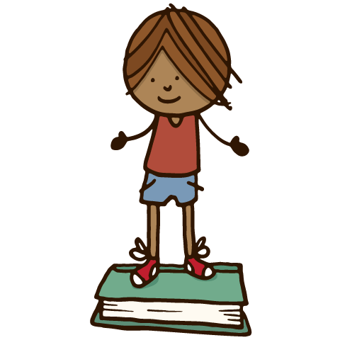 drawing of child standing on book