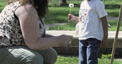 child standing outdoors holding dandelion
