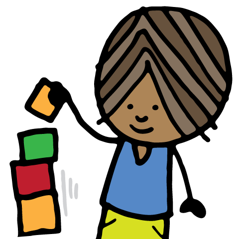 child with blocks