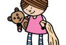 little girl with teddy bear and blanket