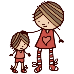 drawing of parent touching child's head
