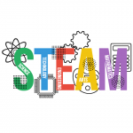 "color drawing of the word ""STEAM"""