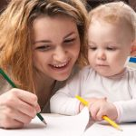 mom coloring with child