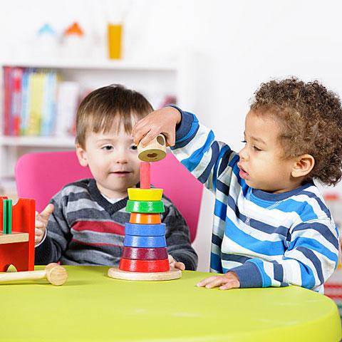 children stacking toys