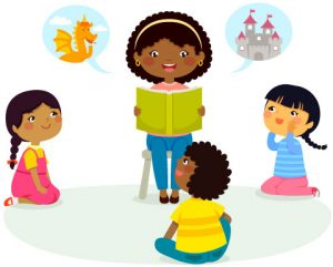 drawning of teacher reading to children