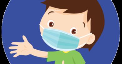 illustration of boy wearing mask