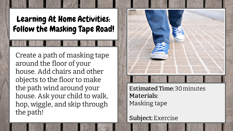 Follow the Masking Tape Road!