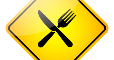 sign with eating utensils