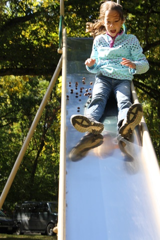 child on slide with nuts