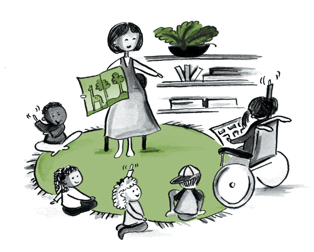 Cartoon image of a teacher and children reading on a rug
